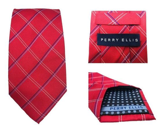 Corbata Perry Ellis Varios Diseños 8cm Ancho Seda 100%