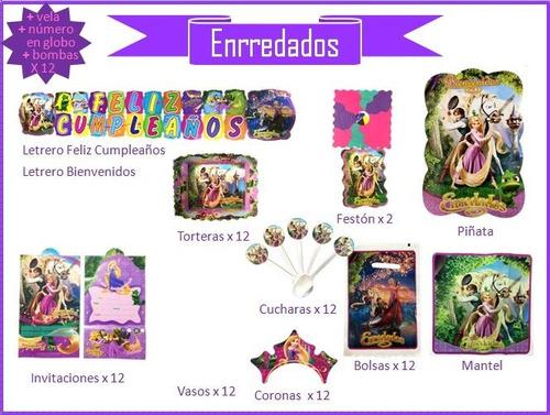 Imagen 1 de 10 de Kit De Decoración Fiesta Enrredados, Cumpleaños, Piñata