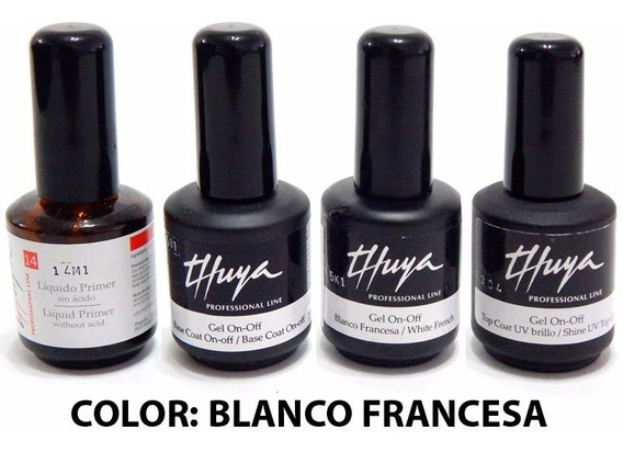 Kit Thuya Esmaltes Semipermanentes Uñas Gel On Off Blanco