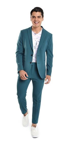 Pantalón De Traje Hombre Skinny Fit Color Verde Lob