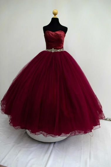 Vestido De Xv Anos Color Vino Con Dorado En Mercado Libre México