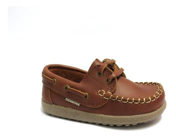 Zapatos Nauticos Niños Cuero Cordon Titanitos 21 Al 26 1605