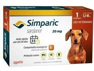 Anti-pulga Simparic 20mg P/ Cães 5,1 A 10kg - 1 Comprimidos