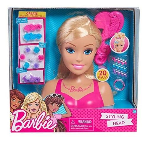 Cabeza De Peinado Pequeña De Barbie: Rubia, Mediana, Rosa