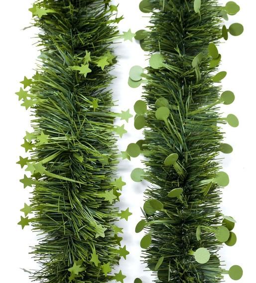 Guirnalda Navidad Verde Pino Estrella Punto 10 Cm X 2 M #325