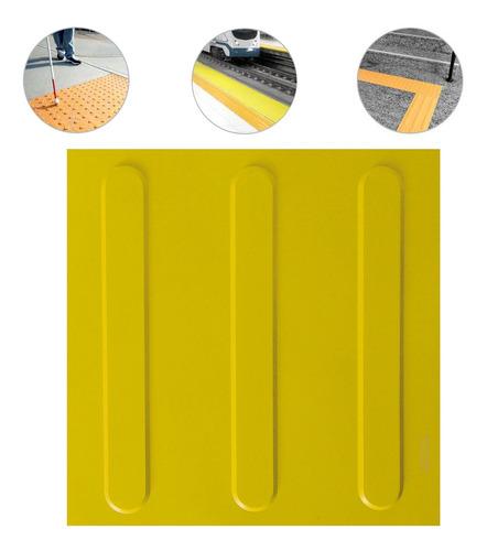 Imagem 1 de 10 de Piso Tátil Direcional Pvc 25x25 Amarelo 48 Pçs 3 M Linear