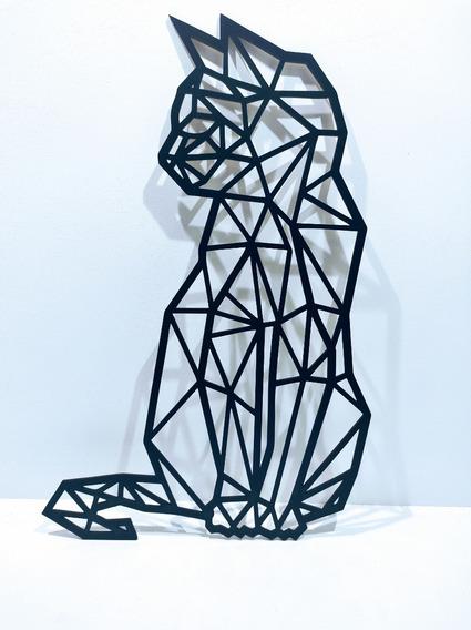 Quadro Painel Decoração Gato Geométrico Mdf - 50x30
