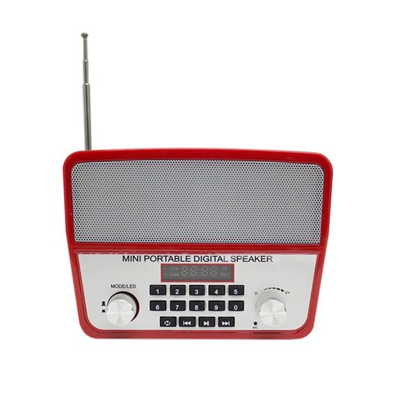 Mini Caixa Som Portátil Ws-1813 Bluetooth Usb Mp3 Radio Red