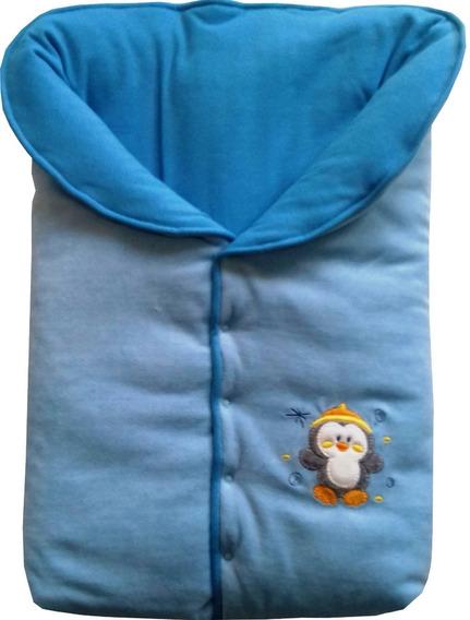 Saco Dormir Menino Plush+suedine Bordado Pinguim Azul Bb/céu