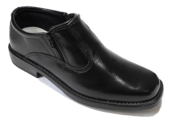 Sapato Social Preto Barato Com Ziper Couro Solado Costurado Calçado Estilo Meia Bota Cano Baixo Otimo Para Dirigir Carro