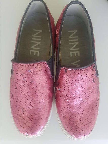 Nine West Zapato Tenis Flats Mujer Dama Lentejuela Rosa Piso