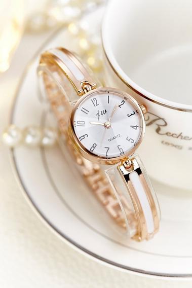 Relógio Feminino De Pulso Dourado Com Branco