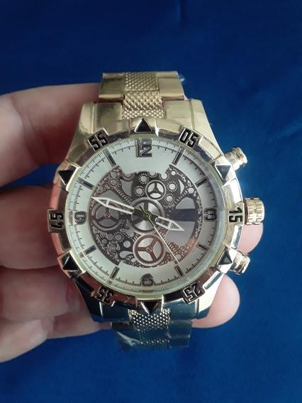 Relógio De Pulso Masculino Dourado + Cordão
