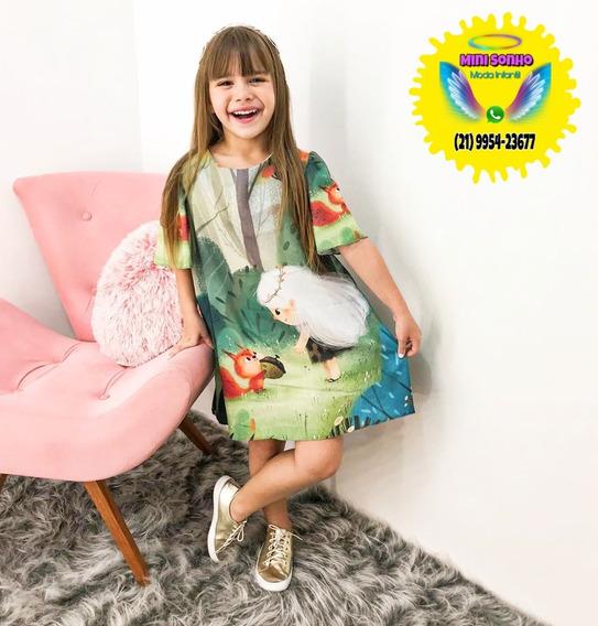Vestido Infantil Moda Floresta Viva