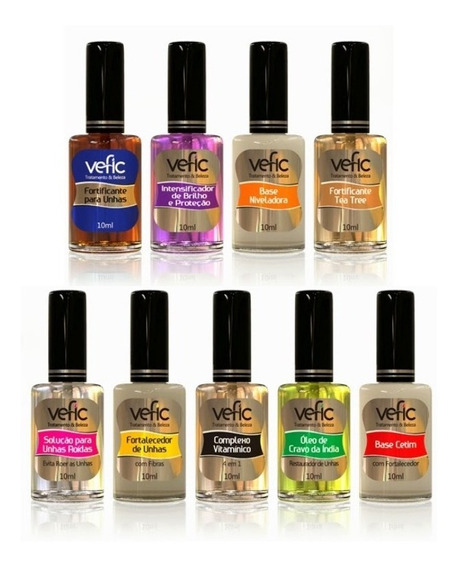 Kit Esmaltes Vefic - 9 Bases Fortificantes Unhas P/ Manicure