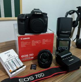 Canon 70d + Lente Canon 24mm 2.8 + Flashyn600exrt2+brindes..