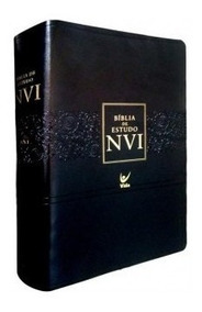 Bíblia De Estudo Nvi Capa Luxo Couro Cor Preta Editora Vida