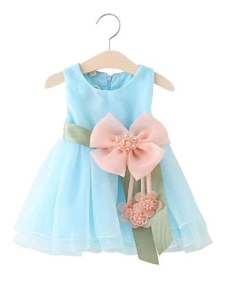Vestido Infantil Menina Festa Ano Novo Natal Com Laço Flor