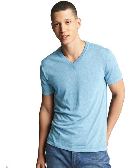 Playera Hombre Manga Corta T-shirt Cuello V Suave Cómodo Gap