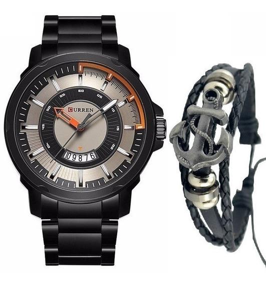 Relógio Masculino Original Curren Aço Inox + Pulseira Ancora