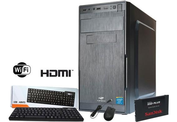 Pc Cpu Intel Core I3 +4gb Ram+hd 500gb + Wifi 1 Ano Garantia