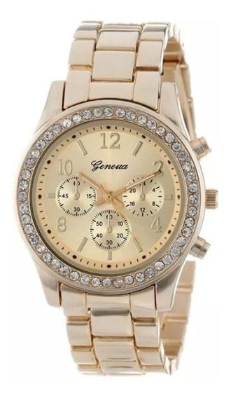 Relógio Feminino Dourado Com Strass Super Luxo