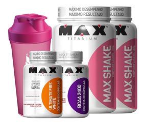 Kit Seca Barriga 2x Max Shake + Bcaa + Ultimate Fire White