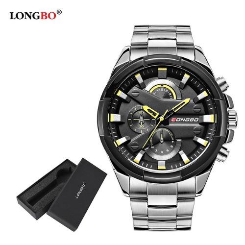 Relógio Longbo Masculino Prata/preto De Pulso Aço Inoxidável