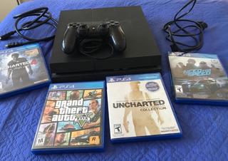 Playstation 4 Con 4 Juegos //gtav, Nfs, Uncharted C.