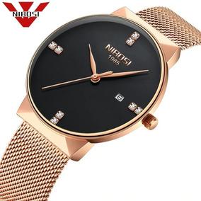 Relógio Nibosi Feminino Masculino Rosé E Preto Ref. 2323
