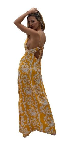 Vestido Largo Mujer Estampado Espalda Descubierta Nuevo