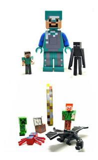 Boneco Minecraft Steve Sonoro Led + Tocha +aranha Kit 10 Peç