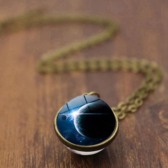Collar Doble Cara Sistema Solar Nebulosa Galaxia Original