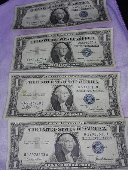 4 Billetes De Dolar Americanos,de Sello Tinta Azul Antiguos