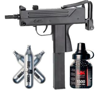 Pistola Co2 Fox M11 4,5 Mac 11 Tipo Uzi + 1500 Balines + 3 Garrafas