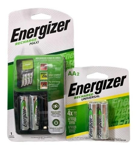 Imagen 1 de 5 de Cargador Energizer Maxi Y Baterias Recargables Aa Combo Kit