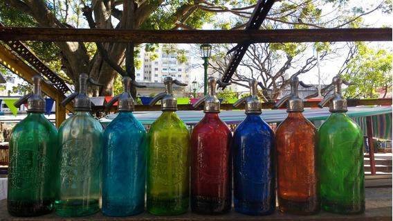 Sifones De Colores Antiguos,relieve Cabeza De Plomo