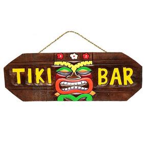 Placa Tiki Bar Havaiana Tiki Hawaii