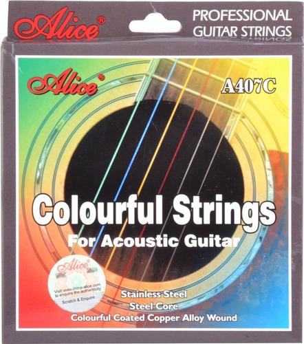 Imagen 1 de 1 de Encordadura A407c Colores Acero Alice P/guitarra Acústica