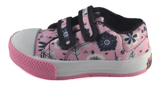 Zapatilla Nena Flores Abrojo Rosa Small Shoes