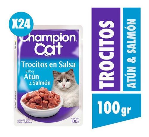 Champion Cat Trocitos En Salsa Sabor Atún Y Salmón 24x100g