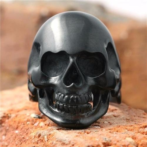 Anel Aço Inox 316 Caveira Punk Rock Gótico Metal Carro Moto