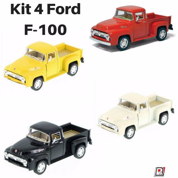 Kit 4 Caminhonete Coleção Ford F-100 Pickup Antiga 1956