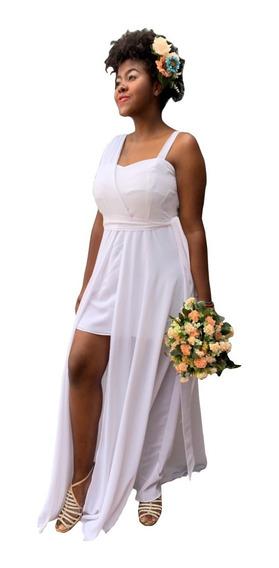 Vestido Plus Size Festa Moda Feminina Branco Estilo Deusa