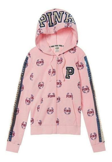 Campera Victorias Secret Pink Full Logo Lentejuelas