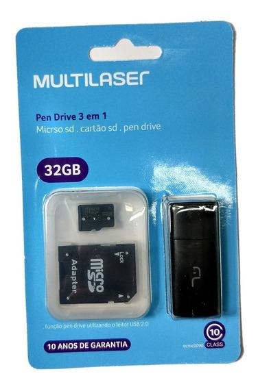 Cartão D Memória Micro Sd 32gb Multilaser Cls 10 Pendrive Nf
