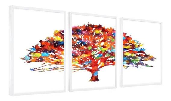 Quadro Árvore Da Vida Colorida Linda Luxo Moldura 120x60cm