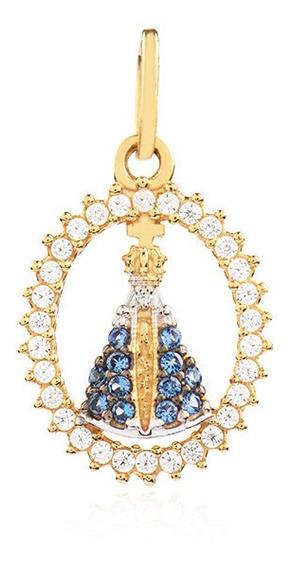 Pingente De Ouro 18k Feminino Nossa Senhora Aparecida Oval