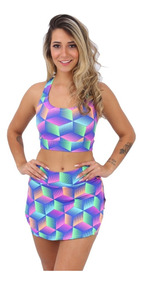 Kit 4 Conjuntos Shorts Saia + Top Moda Fitness Roupa Academ