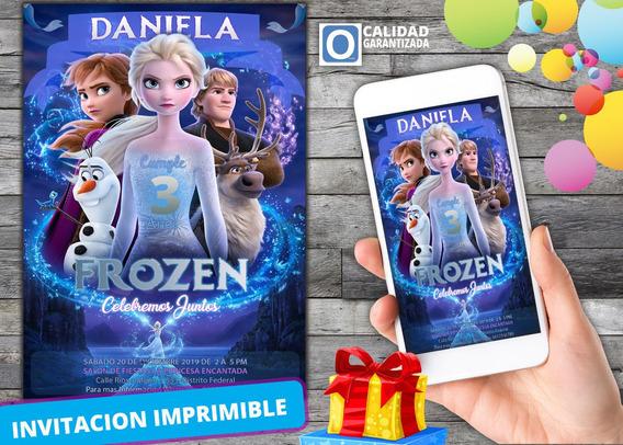 Invitación Digital Virtual De Cumpleaños De Frozen 2